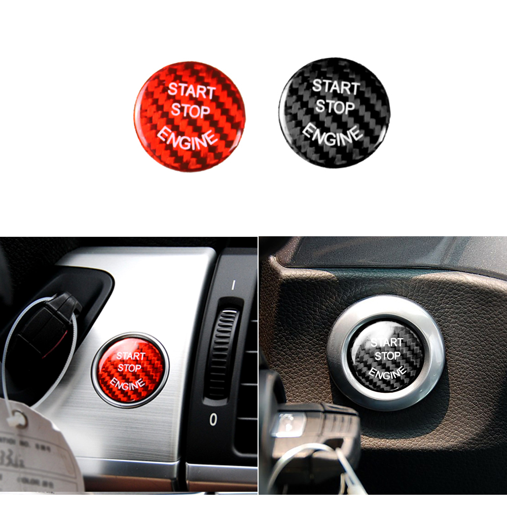 Universal E Chassis Engine Start Stop Switch Carbon Fiber Button Sticker Trim decorative For <font><b>BMW</b></font> E60 X5 E70 <font><b>E90</b></font> X6 E71 E83 E84 image