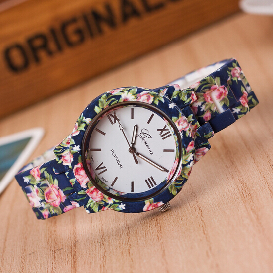 Fashion design Ladies flower wristwatch women dress watch high quality ceramic sweet girls Bracelet watch sweet beads layered flower bracelet for women