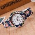Señoras de la flor de diseño de moda reloj mujeres reloj de vestir de alta calidad de cerámica dulces niñas Pulsera relojes