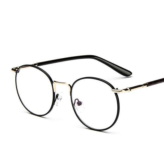 58cfed623 وصفت ظلال الزجاج إطارات للنساء رجل 2017 الكورية كبيرة مستديرة معدنية إطار  نظارات مع الربيع معبد