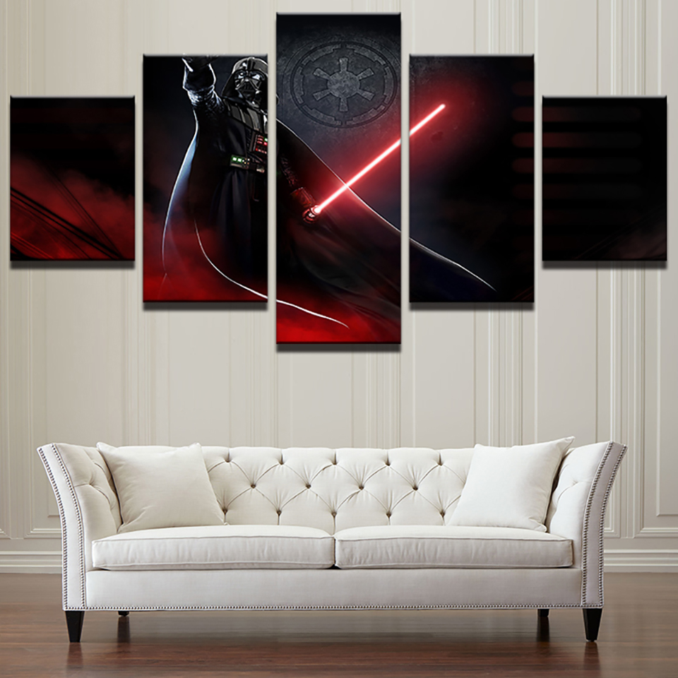 Modular Art Picture Wall Home Decoration 5 Panel Star Wars Movie Posters Framed Living Room HD Printed Modern Painting On Canvas image