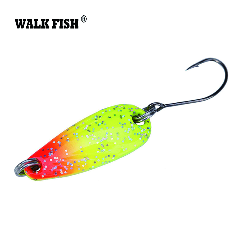 Walk Fish Metal Spinner Spoon 1Pcs 2.8cm 2.5g Fishing Lure Hard Baits Sequins Noise Paillette with VMC Treble Hook Tackle HH012 fish king 1 pc 24g fishing lure spoon lure noise sequin paillette carp hard fishing baits with 4 mustad treble hook lure