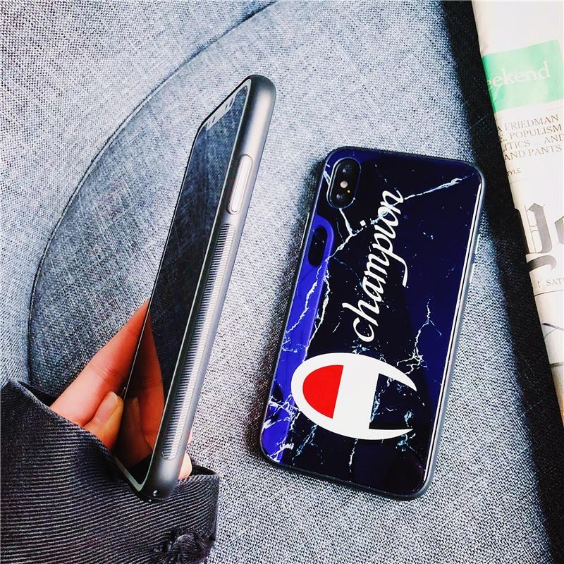 Новый Взрывозащищенные Стекло зеркало улица тенденция чемпиона чехол для iphone 6 6 S plus 7 плюс 7 8 плюс 8X10 Drop телефон случаях