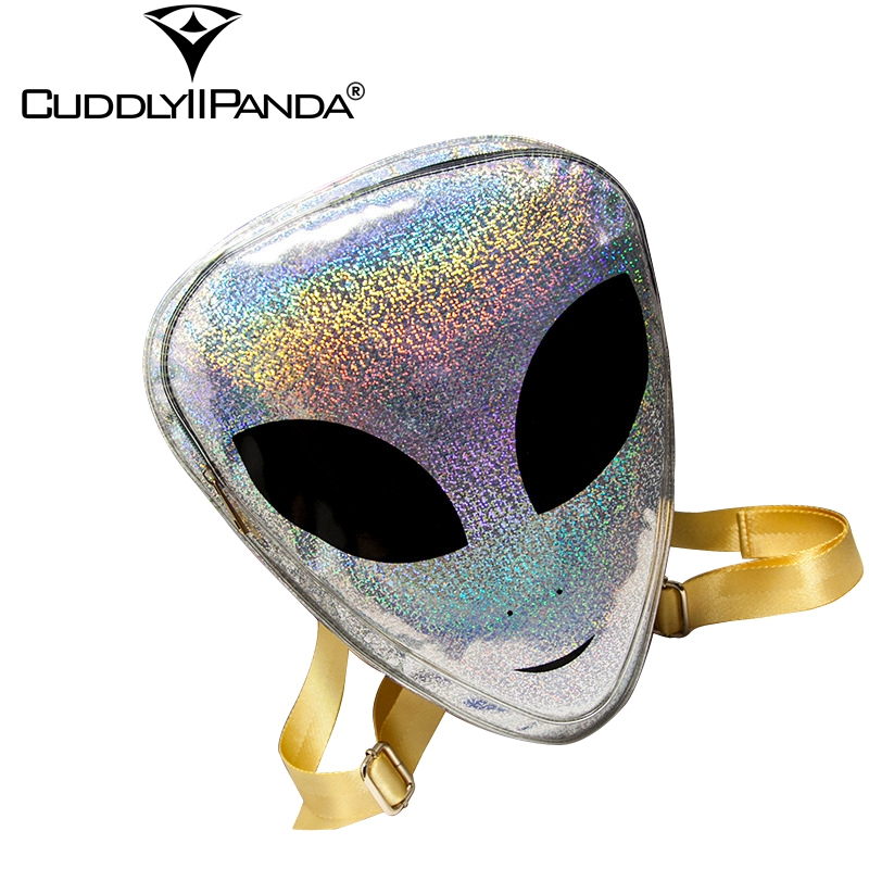 6 Types Laser 3D Aliens Backpack 7 Colors Reflection Harajuku Style School Bag for Teenagers Transparent Backpack