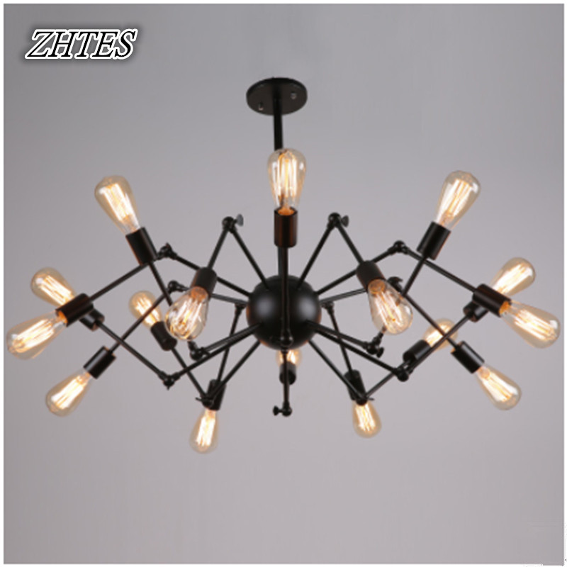 Wrought Iron Spider Chandelier Retro Creative Living Room Lamp Restaurant Industry Light lang qing court iron creative flower green dill multilayer wooden living room interior floor spider showy flower pots
