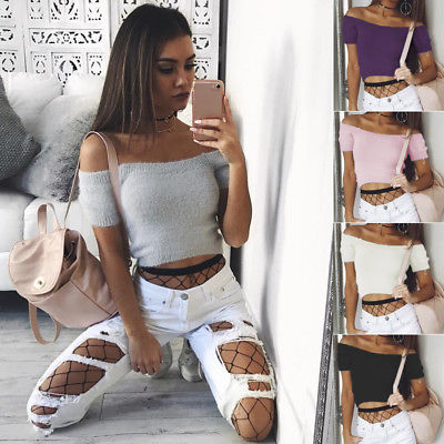 Womens Off Shoulder Bodycon Shirt Fashion Ladies Summer Casual Knit Tops Sweaters