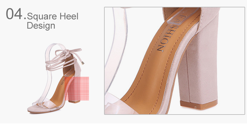 HTB1Wf2lX5HrK1Rjy0Flq6AsaFXaU Summer Women High Heels Shoes T-stage Transparent Sandals Sexy Square Heel Pump Female Cover Heel Party Wedding Ladies Plus Size