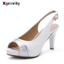 Xgravity 2018 Hot Summer Sexy Super High Heel Pumps Open Toe Lady Woman High Heel Sandals Comfortable Elegant Women's Shoes B010