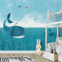 Original Nordic Simple Cartoon Whale Sea Childrens House Background Customized Large Interior Wallpaper Mural 3D Photo Wall