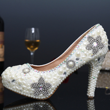 Sexy High Heels Formal Shoes Handmade Shoes Woman Thin Heel Party Rhinestone Pumps Platform Pumps Crystal Pearl Bridal Shoes
