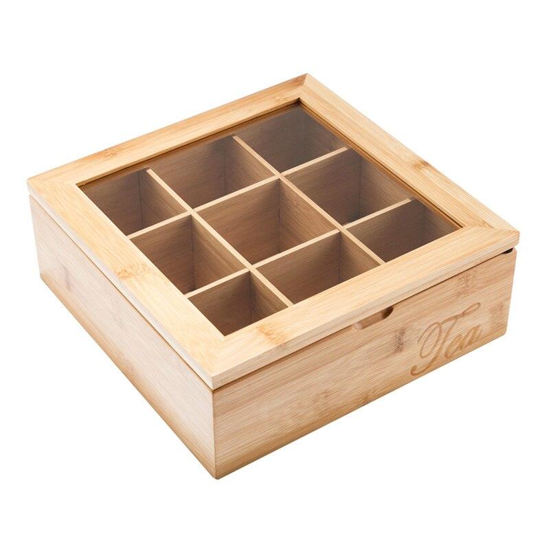 XMT-HOME café conteneur de stockage de thé en bambou pot boîte compartiment en bois avec couvercle