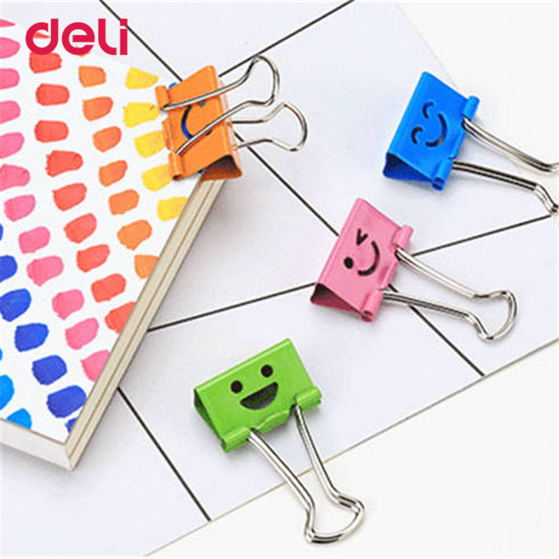 Deli 48PCS a Barrel Common Smile Cute Binder Clips Metal Cute Paper Stationary Office Material School Supplies Cute Binder Clips deli new colorful candy paper clips 200pcs a barrels office stationery metal clips box pin binding supplies learn student clips