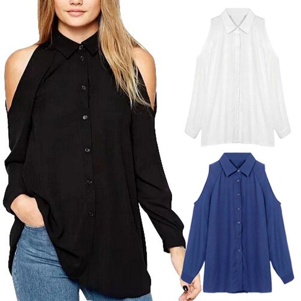 2016 fashion womens loose off shoulder long sleeve chiffon for Fashionable button down shirts