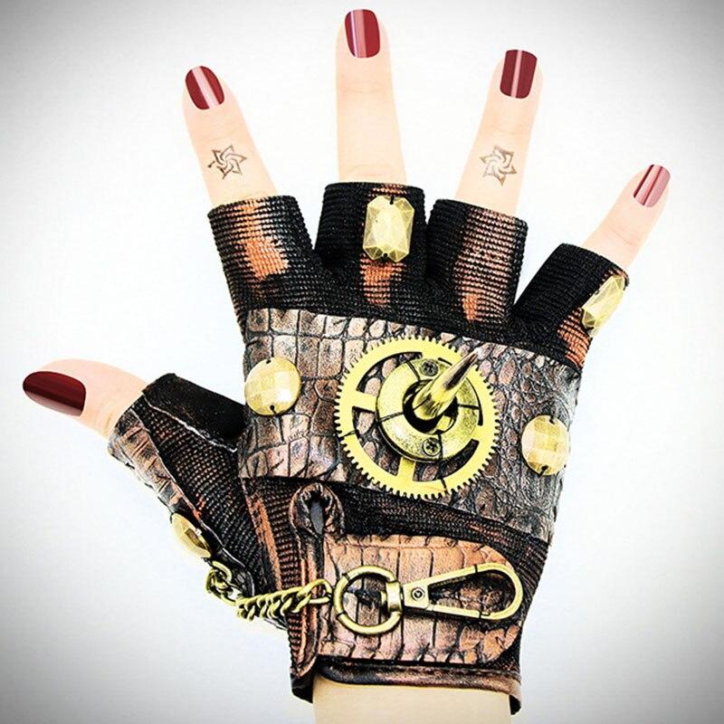 Corzzet gothique femmes Zipper Rock vapeur Rivet métal Steampunk Orange PU cuir demi doigt gants Costume pour femmes accessoires
