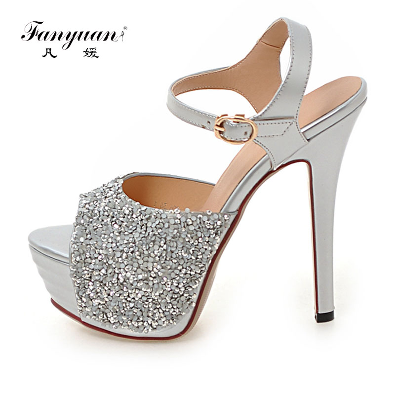 87e947b1e1e Fanyuan 2018 Women High heels Prom Wedding shoes Lady Platforms Silver  Glitter Rhinestone Bridal Shoes Ankle Strap Party sandals