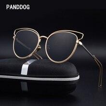 PANDDOG Luxury Glasses Alloy Aluminum Frame Cat Eyes Polarized Sunglasses Women Brand Designer Glasses Box And Cloth LHXY002