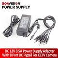 100 V-240 V 12 V 8.5A 8 Portas Caixa de CCTV Camera Adaptador AC fonte de Alimentação Para CCTV Segurança Kit câmera DVR