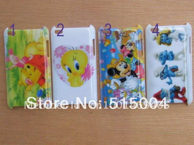 Beautiful Cartoon Case Hard Back Cover For Ipod Touch 4 4th 10pcs/lot FOR Christmas gift+free Shipping
