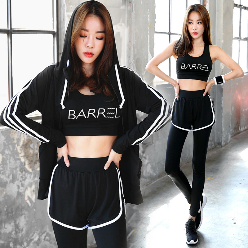 Survêtement pour femmes trois 3 pièces Yoga ensembles Sport costume Gym vêtements pour femmes complet Sport femme veste + soutien-gorge + pantalon long
