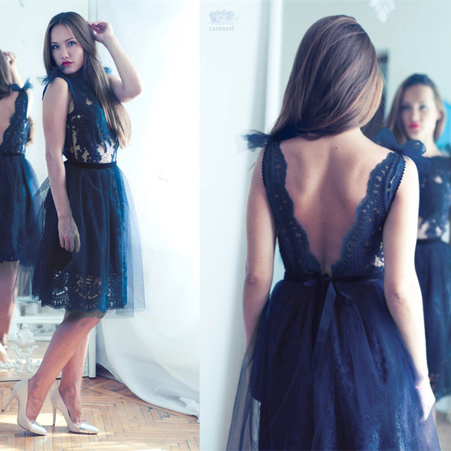 bed98d2a17b22 2016 Navy Blue Sexy Knee Length Tulle A Line Cocktail Party Dresses Lace  Appliques Illusion Scoop Short Backless Prom Gowns