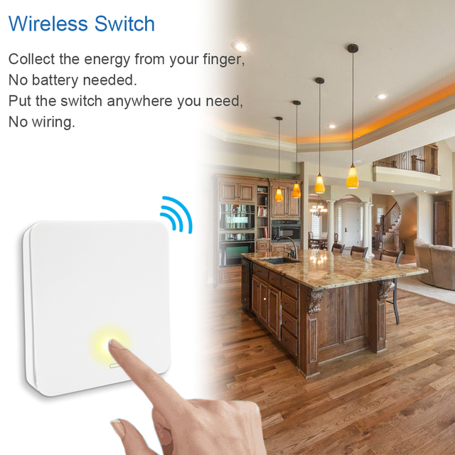 Wireless Switch Kinetic Self-Powered Wall Switch No Battery Needed, Lighting Remote Control up to 30m, No Wire, Easy to Install 1