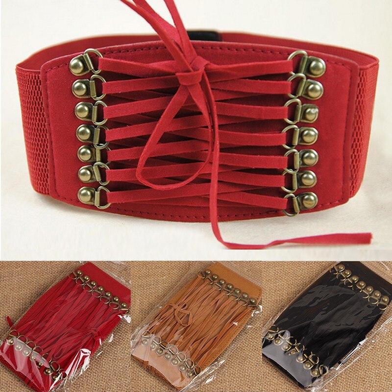 Hot Sale Fashion Women Belts Trench Velvet Retro Rivet Tassel Wide Cummerbund Strap Belt Waist Female Womens Accessories LM58 5