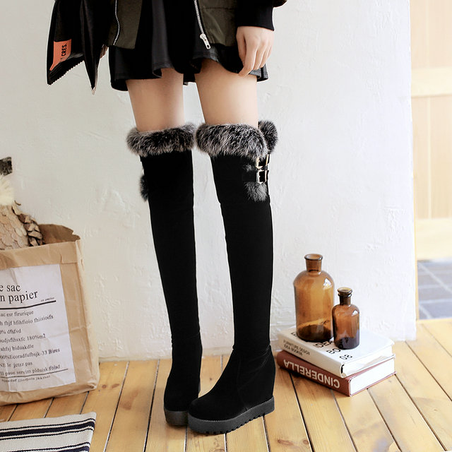 ФОТО 2016 New Arrival Keep Warm Plush Winter Boots Flock Black Brown Over The Knee Boots For Women Thigh High Boots Wedge Boots