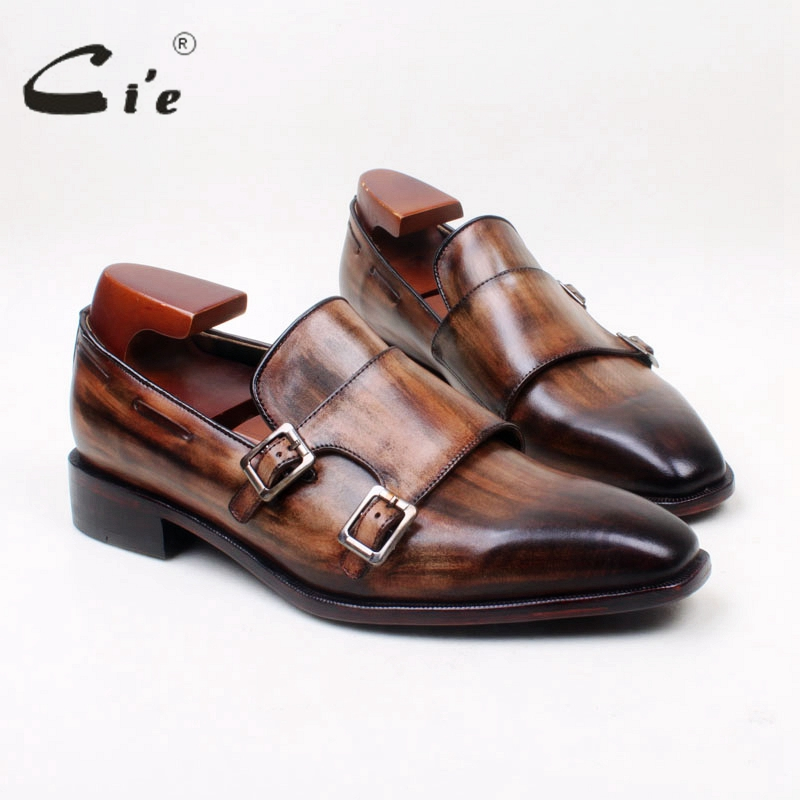 cie Square Toe 100% Genuine Leather Outsole Bespoke Patina Brown buckle Handmade Men's Slip On Shoe No.loafer 153 Free Shipping