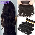 Brazillian Body Wave With Closure 360 Lace Frontal Closure With Bundles Virgin Hair With Closure 3Pcs With Lace Frontal Closure