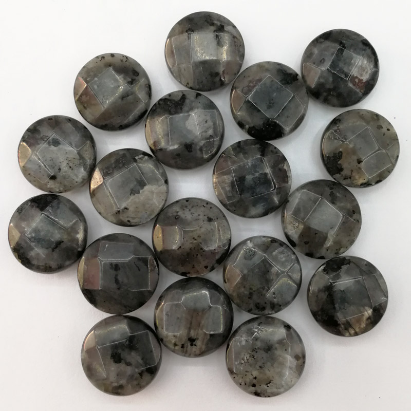 Wholesale fashion natural spectrolite stone 16MM round cut section Shimmer bead for jewelry making necklace 24Pcs cab cabochon