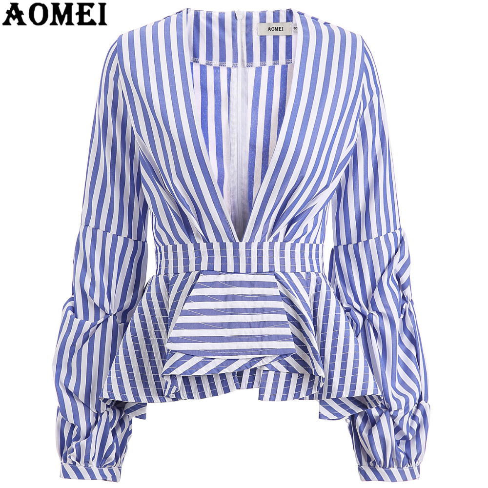 8d66d718 Puff Sleeve Blue White Stripe Blouse Shirts Ruffles Trim Women Sexy V Neck  Sping Fashion New Tops Clothing Blusas Plus Size 4XL-in Blouses & Shirts  from ...