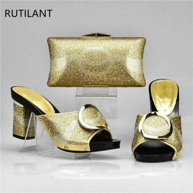 Juego Africanos Tacones naranja Altos oro Bolsos Sandalia Para Negro De amarillo Mujer Italianos Y Dorados Zapatos Boda Conjunto plata 1rCwq10a