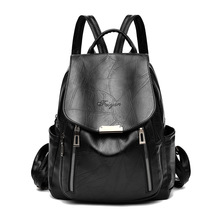 2019 New Women Leather Backpacks Vintage Female Teenager Soft PU Backpack Shoulder Back Pack