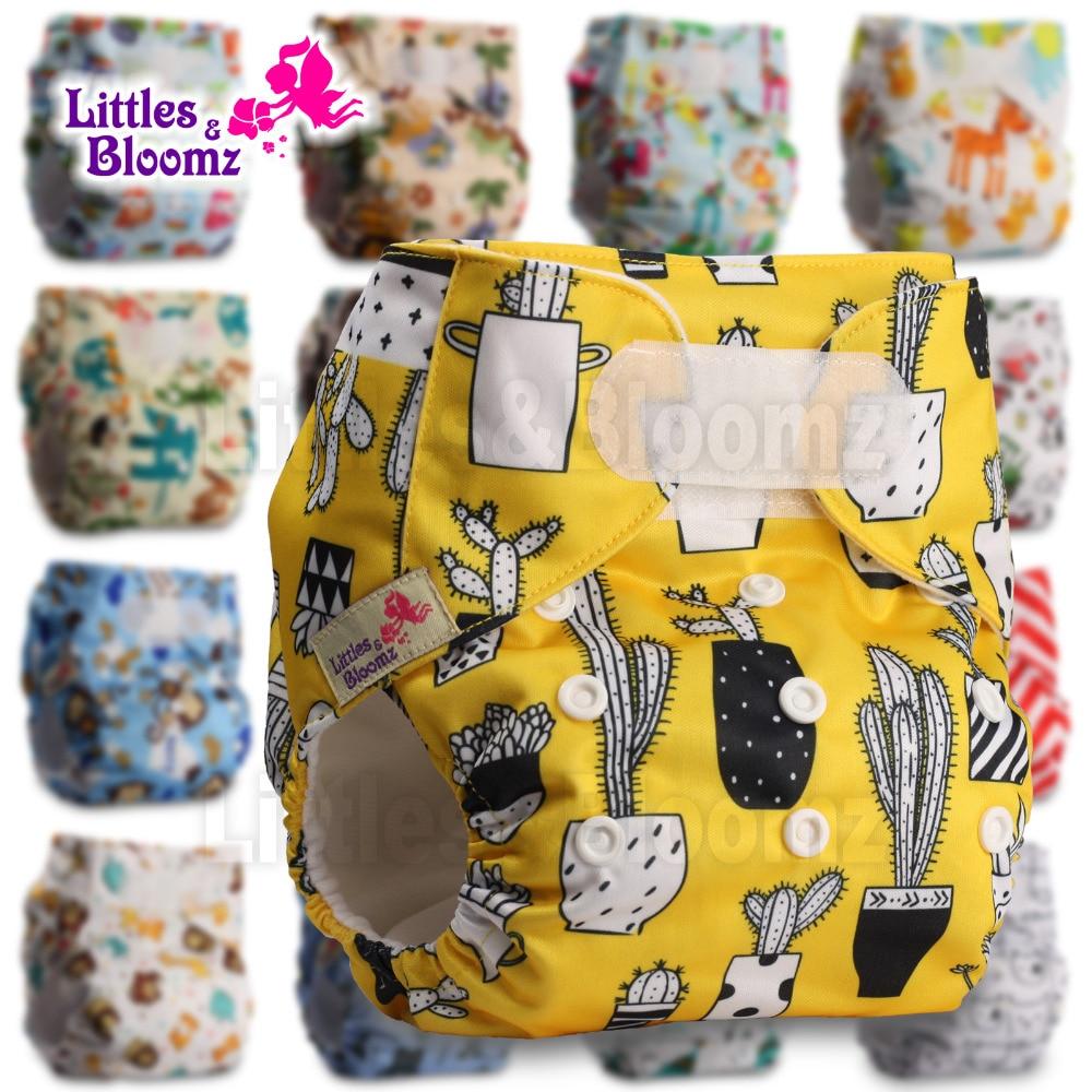 [Littles&Bloomz] Один размер многоразовые тканевые подгузники Моющиеся Водонепроницаемые Детские карманные подгузники стандартная застежка на липучке