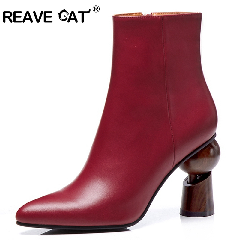 f9faa865b4ceee Cuir Rouge En Fermeture black Cheville Chaussures Chat Black Bottes red  Étrange Pu Qualité Pu Partie De Talons Fur A1471 Bout Reave Talon red Noir  Femmes ...