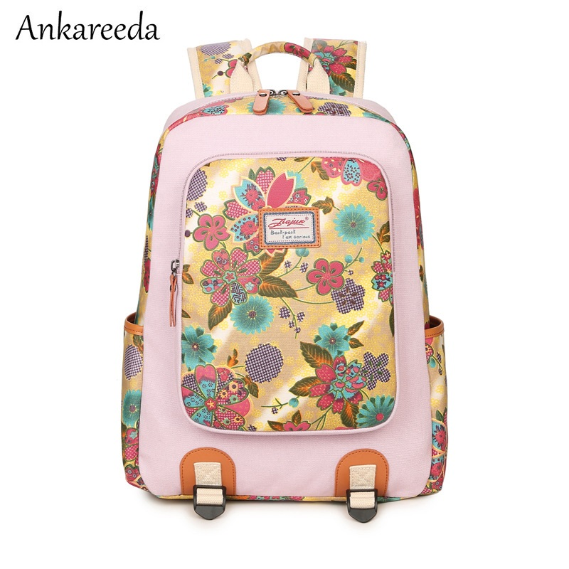 National style original women designer shoulder backpacks female traditional classical floral printed canvas school bags girls