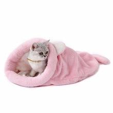 Кошка кровать милый кот спальный мешок мягкий теплый Кошкин дом Pet коврики щенок валик маленькая собака кролик кровать смешно ПЭТ продукты