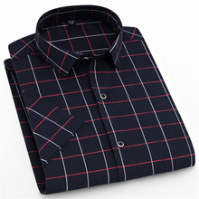 New Fashion Brand Men Clothes Slim Fit Cotton Short Sleeve Shirt Print Plaid Business Casual Social M-5XL Size