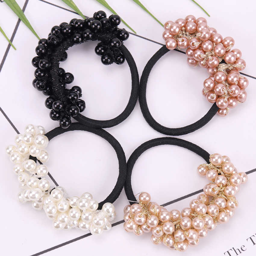 New Hair Accessories Pearl Elastic Rubber Bands Headwear For Women Girl Ponytail Holder Scrunchie Ornaments Jewelry