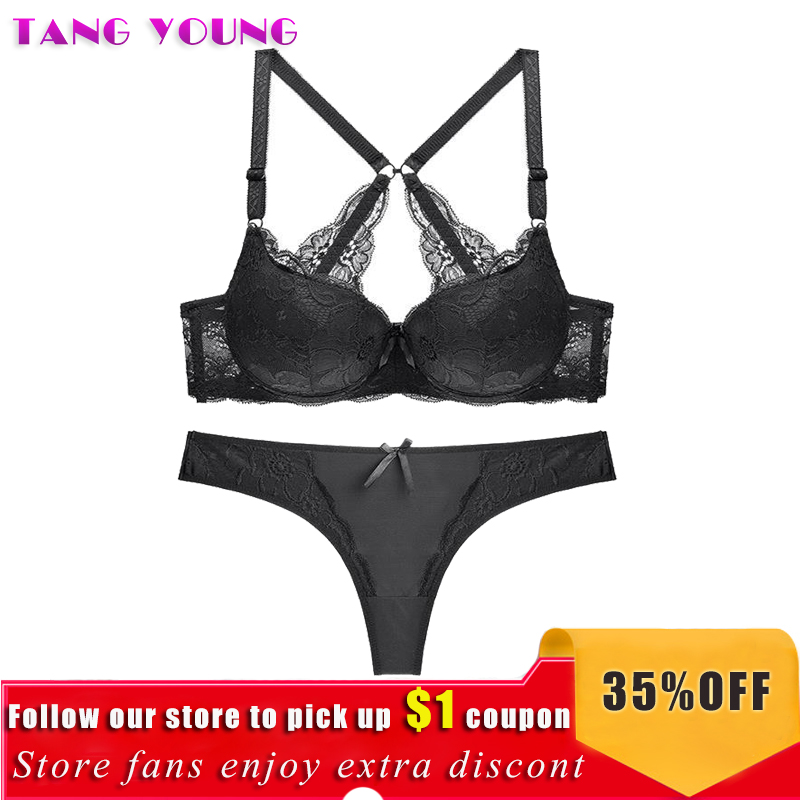 Women Sexy   Brief     Set   Lady Push Up Racerback   Bra     Set   Lace Hollow Out Underwear Thong Panty   Set   Intimates Women   Bra     Brief     Set