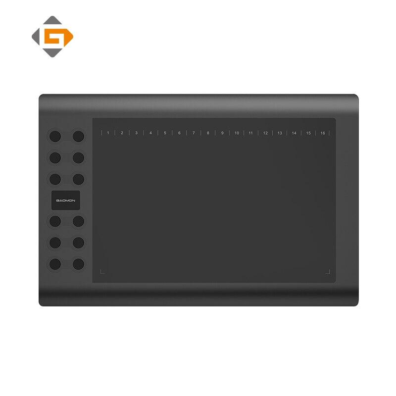 GAOMON M106K-10 pulgadas profesional tableta gráfica Digital Arte dibujo con USB recargable pluma