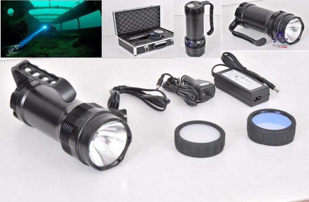 100% вода-доказательство+Бесплатная доставка!Спрятанный электрофонарь Подныривания,50м под водой инструмент,35ВТ/55ВТ,яркость:3200/4500LM,12В,HID факел