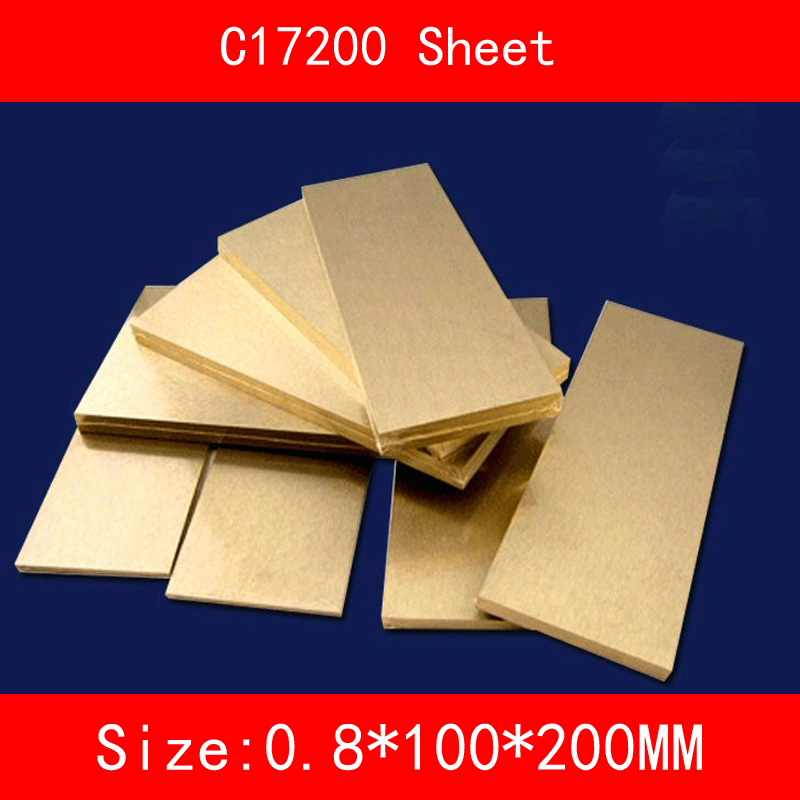 0.8 * 100 * 200mm Beryllium Bronze Sheet Plate of C17200 CuBe2 CB101 TOCT BPB2 Mould Material Laser Cutting CNC0.8 * 100 * 200mm Beryllium Bronze Sheet Plate of C17200 CuBe2 CB101 TOCT BPB2 Mould Material Laser Cutting CNC