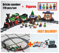 New Christmas Winter Holiday Train RC track motor power fuction fit legoings technic city Building Block Bricks Toy 10254 gift