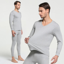 2018 Winter 100% Cotton Round Neck Warm Long Johns Set For Men Ultra-Soft Solid Color Thin Thermal Underwear Men's Pajamas M-3XL
