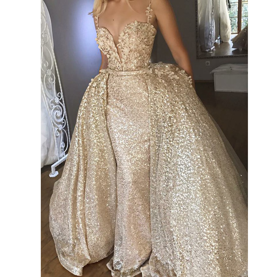 Gold Muslim   Evening     Dresses   2018 Mermaid Spaghetti Strap Lace Sequins Islamic Dubai Kaftan Saudi Arabic Long Prom   Evening   Gown