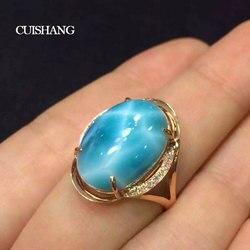 CSJ Natural Larimar pierścionki Sterling 10K złota z 10ct Larimar Fine Jewelry obrączki ślubne dla kobiet Ladies Girls Gift