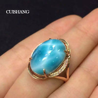 CSJ Natural Larimar Rings Sterling 14K Gold with 10ct Larimar Fine Jewelry Wedding Engagement Bands for Women Ladies Girls Gift