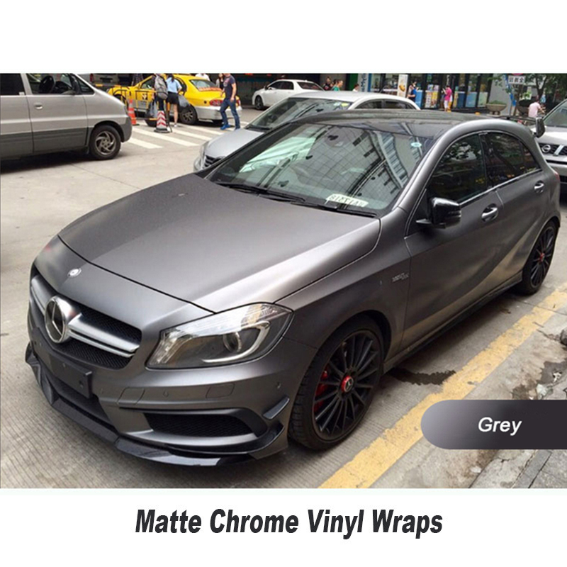 Matte chrome grey vinyl Wrap For Car Wrapping Film With Air Channel full car wrap film Vinyls 1.52x20m/Roll 152cmx18m premium polymeric pvc light blue ice matte chrome vinyl film car styling wraps whole body stickers with air channel