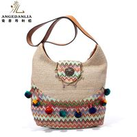 Women Bohemian Bright Summer Beach Ladies ColorfulHandbag Shoulder Bag Cotton Fabric Canvas National Ethnic Massager Bags